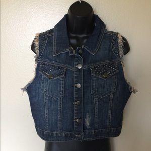 Forever 21 Premium Denim Crop Vest, Large